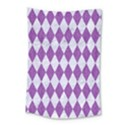 DIAMOND1 WHITE MARBLE & PURPLE DENIM Small Tapestry View1