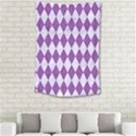 DIAMOND1 WHITE MARBLE & PURPLE DENIM Small Tapestry View2