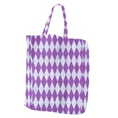 Diamond1 White Marble & Purple Denim Giant Grocery Zipper Tote by trendistuff