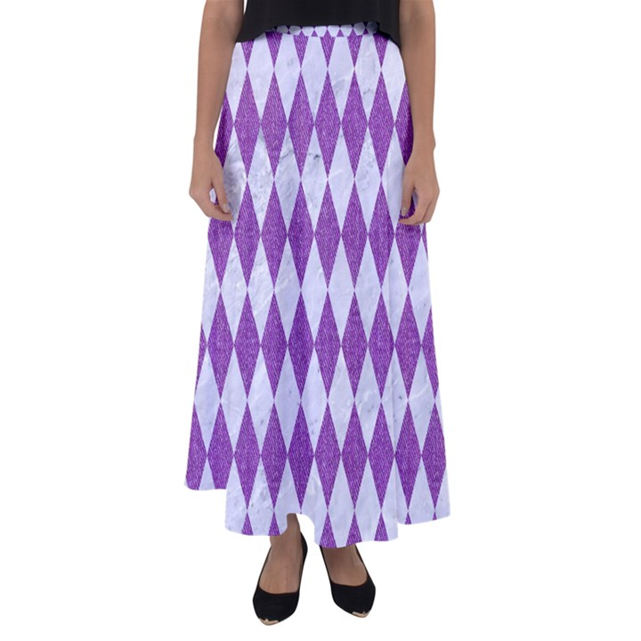 DIAMOND1 WHITE MARBLE & PURPLE DENIM Flared Maxi Skirt