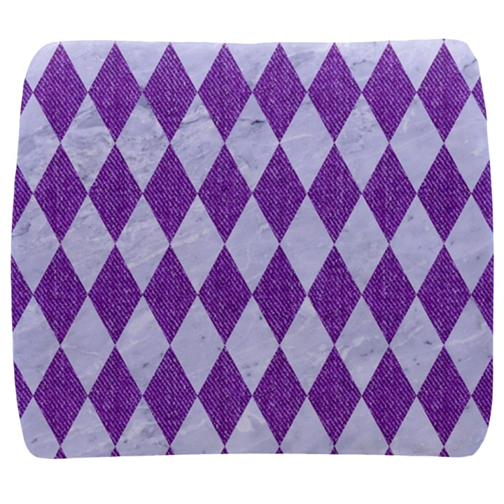DIAMOND1 WHITE MARBLE & PURPLE DENIM Back Support Cushion