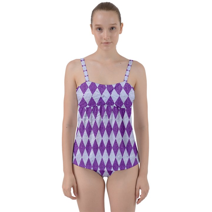 DIAMOND1 WHITE MARBLE & PURPLE DENIM Twist Front Tankini Set