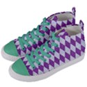 DIAMOND1 WHITE MARBLE & PURPLE DENIM Women s Mid-Top Canvas Sneakers View2