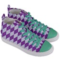 DIAMOND1 WHITE MARBLE & PURPLE DENIM Women s Mid-Top Canvas Sneakers View3