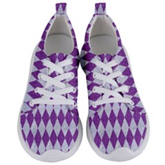 Diamond1 White Marble & Purple Denim Women s Lightweight Sports Shoes