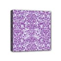 DAMASK2 WHITE MARBLE & PURPLE DENIM (R) Mini Canvas 4  x 4  View1