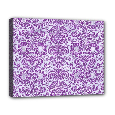 Damask2 White Marble & Purple Denim (r) Deluxe Canvas 20  X 16