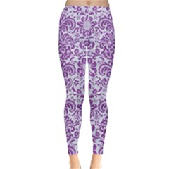 Damask2 White Marble & Purple Denim (r) Leggings