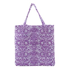 Damask2 White Marble & Purple Denim (r) Grocery Tote Bag by trendistuff