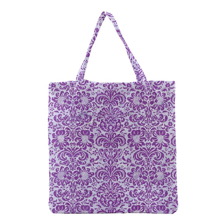 DAMASK2 WHITE MARBLE & PURPLE DENIM (R) Grocery Tote Bag