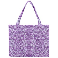 Damask2 White Marble & Purple Denim (r) Mini Tote Bag
