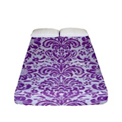 Damask2 White Marble & Purple Denim (r) Fitted Sheet (full/ Double Size)