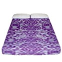 DAMASK2 WHITE MARBLE & PURPLE DENIM (R) Fitted Sheet (King Size) View1