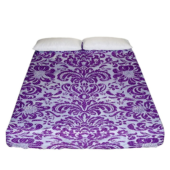 DAMASK2 WHITE MARBLE & PURPLE DENIM (R) Fitted Sheet (King Size)