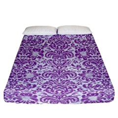 Damask2 White Marble & Purple Denim (r) Fitted Sheet (california King Size) by trendistuff