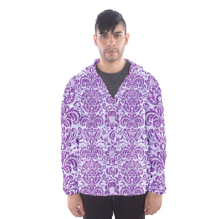 DAMASK2 WHITE MARBLE & PURPLE DENIM (R) Hooded Wind Breaker (Men)