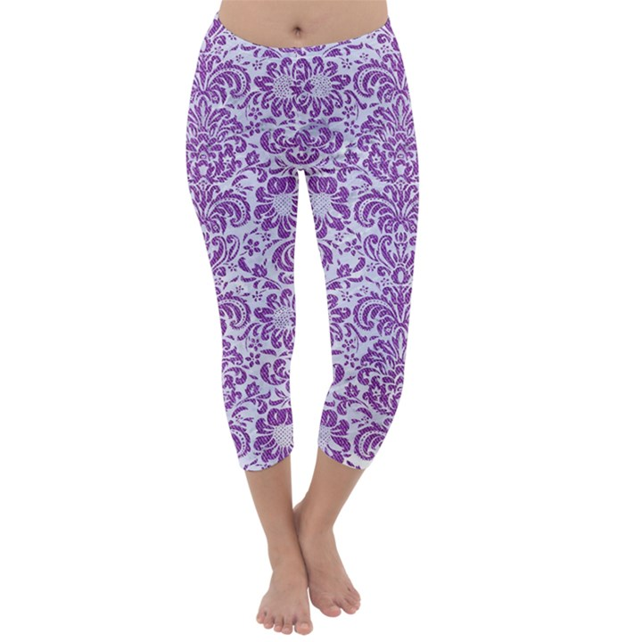 DAMASK2 WHITE MARBLE & PURPLE DENIM (R) Capri Winter Leggings