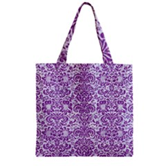 Damask2 White Marble & Purple Denim (r) Zipper Grocery Tote Bag by trendistuff