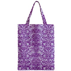 Damask2 White Marble & Purple Denim (r) Zipper Classic Tote Bag by trendistuff