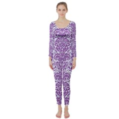 Damask2 White Marble & Purple Denim (r) Long Sleeve Catsuit