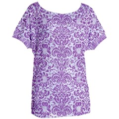 Damask2 White Marble & Purple Denim (r) Women s Oversized Tee