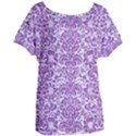 DAMASK2 WHITE MARBLE & PURPLE DENIM (R) Women s Oversized Tee View1