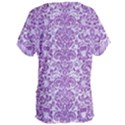 DAMASK2 WHITE MARBLE & PURPLE DENIM (R) Women s Oversized Tee View2