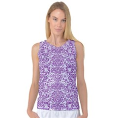 Damask2 White Marble & Purple Denim (r) Women s Basketball Tank Top