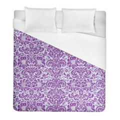 Damask2 White Marble & Purple Denim (r) Duvet Cover (full/ Double Size) by trendistuff
