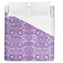 DAMASK2 WHITE MARBLE & PURPLE DENIM (R) Duvet Cover (Queen Size) View1