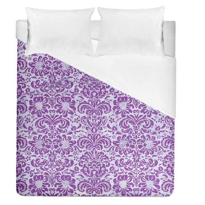 DAMASK2 WHITE MARBLE & PURPLE DENIM (R) Duvet Cover (Queen Size)