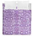 DAMASK2 WHITE MARBLE & PURPLE DENIM (R) Duvet Cover Double Side (Queen Size) View1