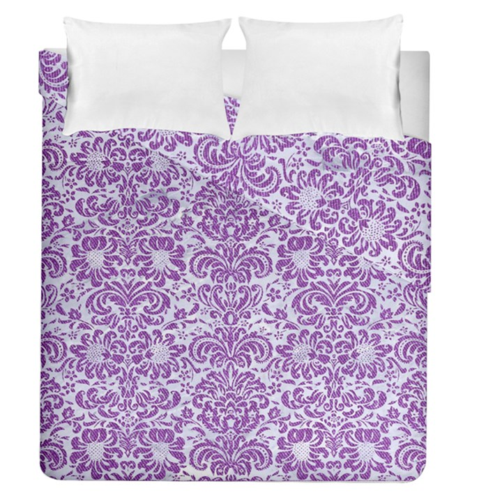 DAMASK2 WHITE MARBLE & PURPLE DENIM (R) Duvet Cover Double Side (Queen Size)