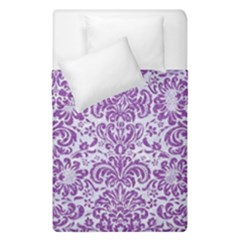 Damask2 White Marble & Purple Denim (r) Duvet Cover Double Side (single Size) by trendistuff