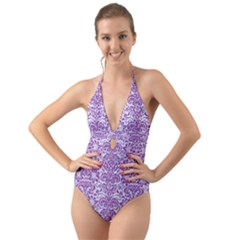 Damask2 White Marble & Purple Denim (r) Halter Cut Out One Piece Swimsuit