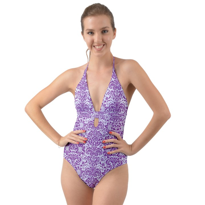 DAMASK2 WHITE MARBLE & PURPLE DENIM (R) Halter Cut-Out One Piece Swimsuit