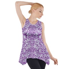 Damask2 White Marble & Purple Denim (r) Side Drop Tank Tunic