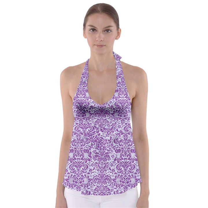 DAMASK2 WHITE MARBLE & PURPLE DENIM (R) Babydoll Tankini Top