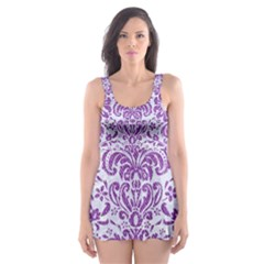 Damask2 White Marble & Purple Denim (r) Skater Dress Swimsuit
