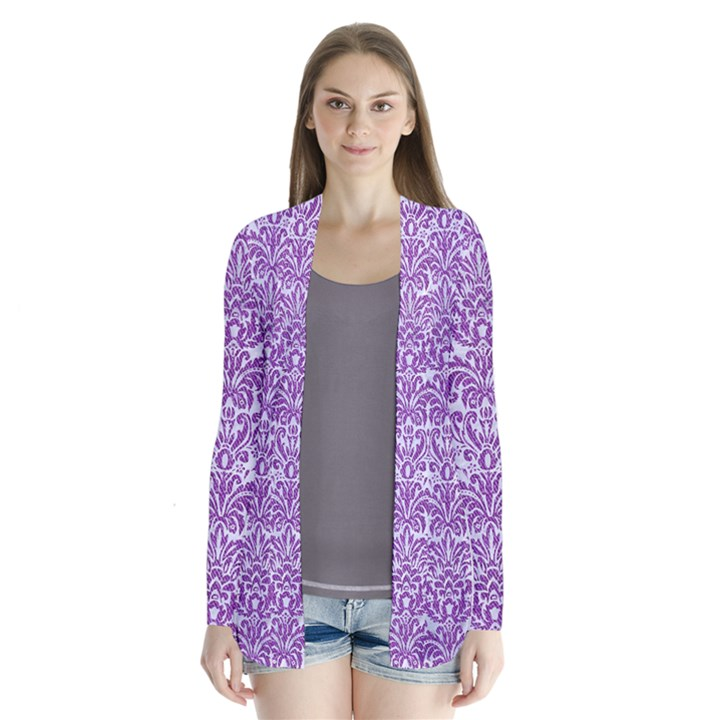 DAMASK2 WHITE MARBLE & PURPLE DENIM (R) Drape Collar Cardigan