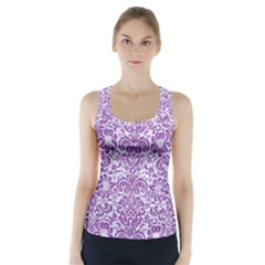 Damask2 White Marble & Purple Denim (r) Racer Back Sports Top