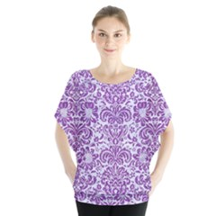 Damask2 White Marble & Purple Denim (r) Blouse