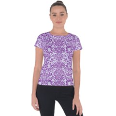 Damask2 White Marble & Purple Denim (r) Short Sleeve Sports Top