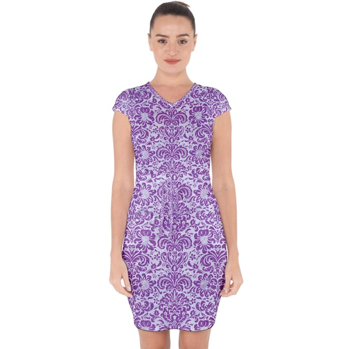 DAMASK2 WHITE MARBLE & PURPLE DENIM (R) Capsleeve Drawstring Dress
