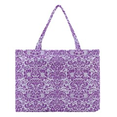 Damask2 White Marble & Purple Denim (r) Medium Tote Bag by trendistuff