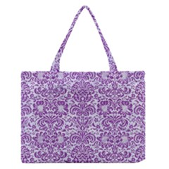 Damask2 White Marble & Purple Denim (r) Zipper Medium Tote Bag by trendistuff