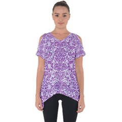 Damask2 White Marble & Purple Denim (r) Cut Out Side Drop Tee by trendistuff