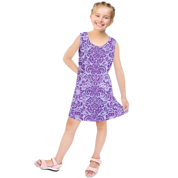 DAMASK2 WHITE MARBLE & PURPLE DENIM (R) Kids  Tunic Dress