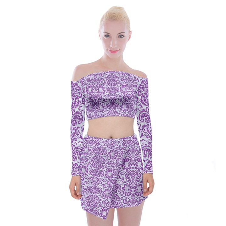 DAMASK2 WHITE MARBLE & PURPLE DENIM (R) Off Shoulder Top with Mini Skirt Set