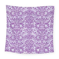 Damask2 White Marble & Purple Denim (r) Square Tapestry (large) by trendistuff
